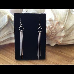 "Vintage Sterling Silver Dangle Earrings 2 3/4"""
